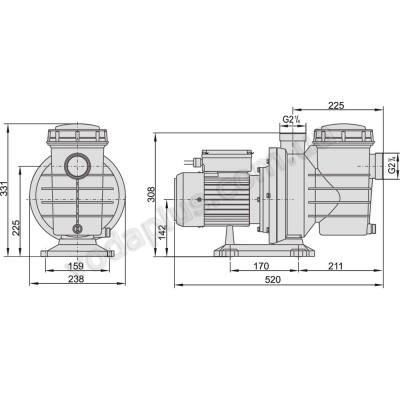 Насос для бассейна Aquaviva LX SWIM075T 19 м3/час