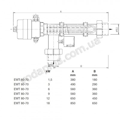 Электронагреватель 6 kW с термостатом EWT 80-70/6