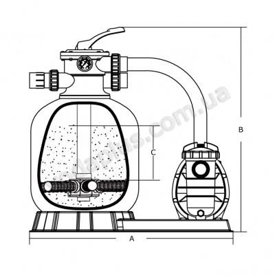 Фильтрационная установка Emaux FSF500 11,1 м3/час с насосом SC100