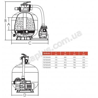 Фильтрационная установка Emaux FSF450 8,1 м3/час с насосом SS075