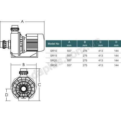 Насос для бассейна Emaux SR20 (400 В) 27 м3/час