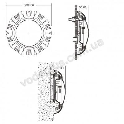 Прожектор плоский галогенный под бетон/лайнер Emaux UL - TP100