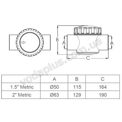 Обратный клапан Emaux V40-1 (Е), 50 мм