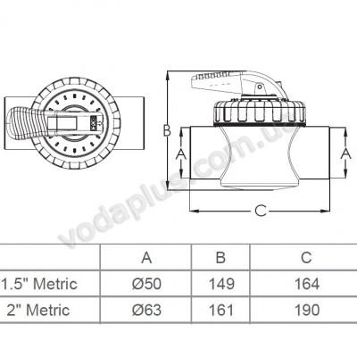 Кран двухпозиционный Emaux V40-2 (Е), 50 мм