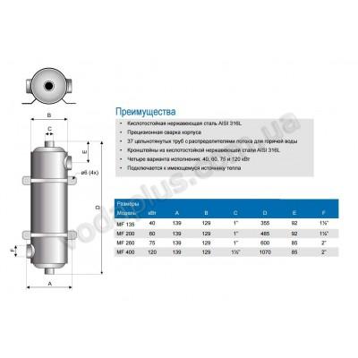 Теплообменник трубчатый Pahlen Maxi-Flow  60 kW
