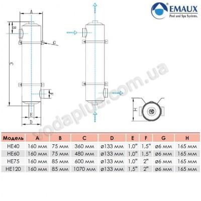 Теплообменник Emaux 120 кВт