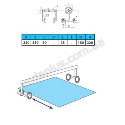 Ролета навивочная Vagner pool 5,4-7,1 м (мобильная) двухсторонняя